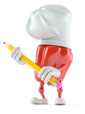 Paprika character holding pencil isolated on white background Фото со стока - 92139070