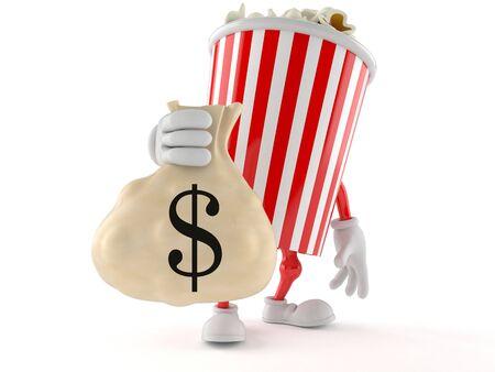 Popcorn character holding money bag isolated on white background
