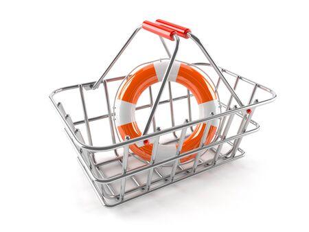 Shopping basket with buoy isolated on white background Stock Photo