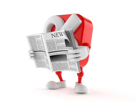 Percent character reading newspaper on white background