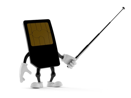 SIM card character holding pointer stick isolated on white background