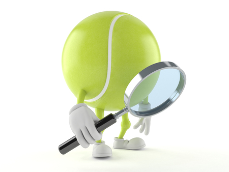 Tennis ball character looking through magnifying glass isolated on white background