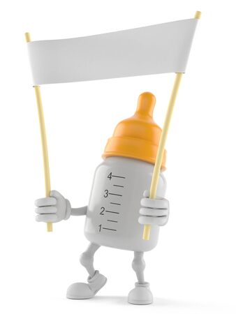 Baby bottle character holding blank banner isolated on white background Stock Photo