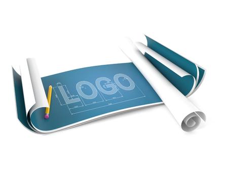 Blueprint mit Logo Konzept isoliert auf weißem Hintergrund Standard-Bild