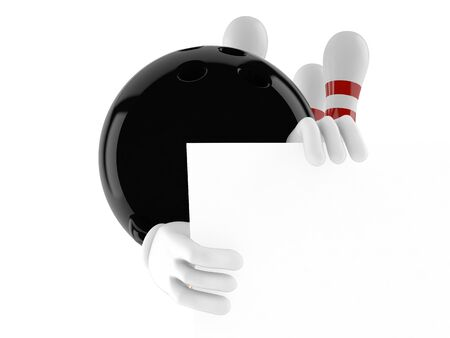 Bowling character behind white board isolated on white background Stock Photo