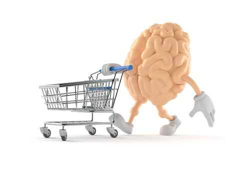 Brain character with shopping cart isolated on white background Stock Photo