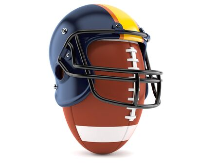 Football helmet with rugby ball isolated on white background Stock Photo
