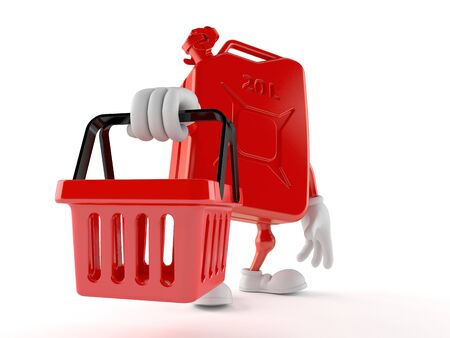 Petrol canister character holding shopping basket isolated on white background