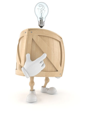 Crate character thinking on white background