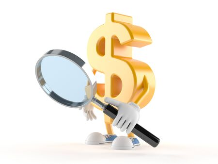 Dollar character looking through magnifying glass isolated on white background