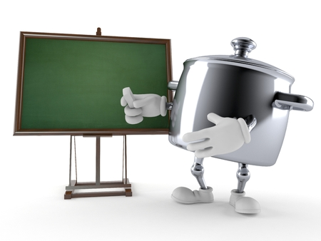 Kitchen pot character with blank blackboard isolated on white background Imagens