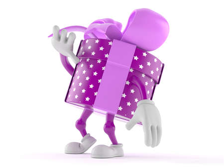 Gift character isolated on white background
