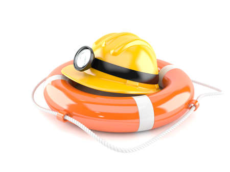 Miner helmet with life buoy isolated on white background Stock Photo