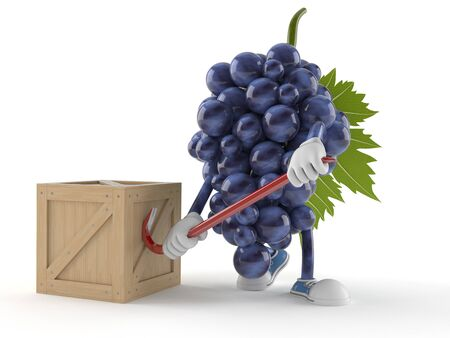 Grapes character with crate isolated on white background