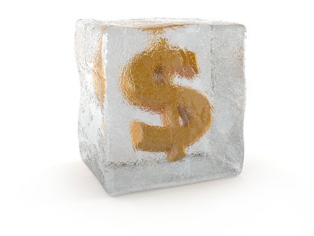 Dollar in ice cube isolated on white background