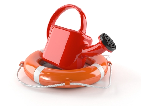 Life buoy with watering can isolated on white background