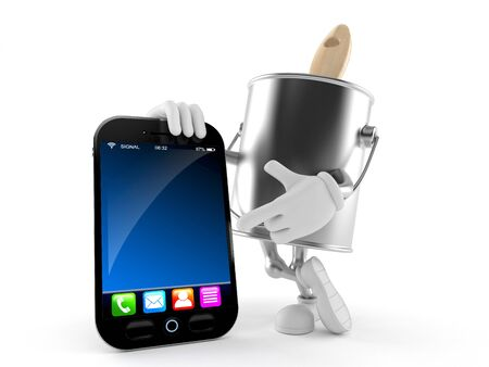 Paint can character with smart phone isolated on white background Stock Photo