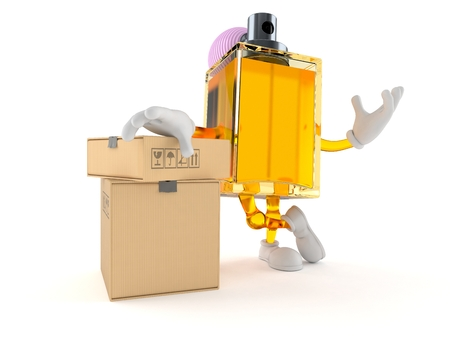 Perfume character with boxes isolated on white background Stock Photo