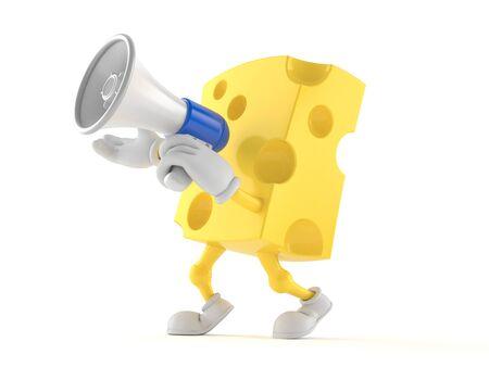 白い背景に隔離されたメガホンを通して話すチーズキャラクター 写真素材