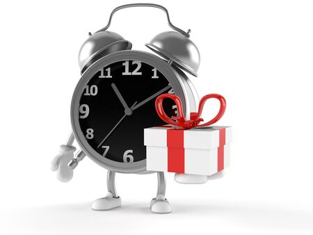 Alarm clock character holding gift isolated on white background