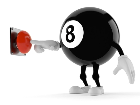 Eight ball character pushing button isolated on white background