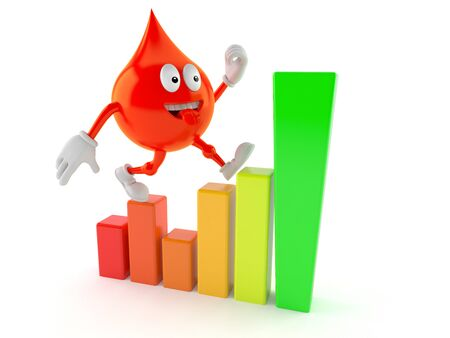 Blood drop character with chart isolated on white background Stock Photo