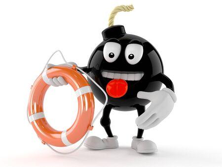 Bomb character holding life buoy isolated on white background