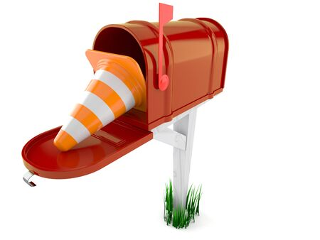 Open mailbox with traffic cone isolated on white background