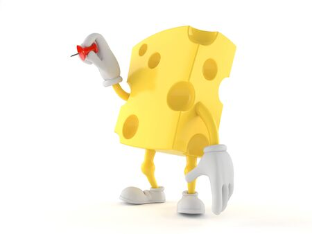 Cheese character holding thumbtack isolated on white background