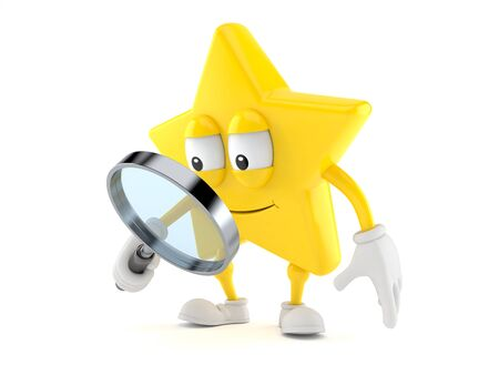 Star character looking through magnifying glass isolated on white background