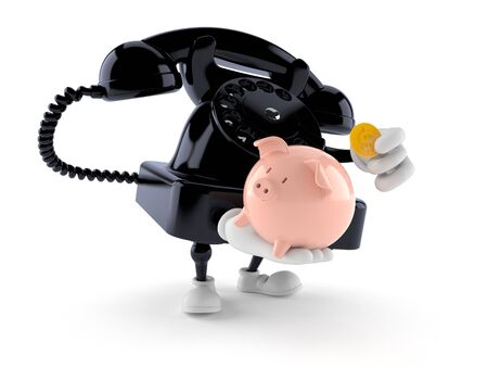 Telephone character holding piggy bank isolated on white background