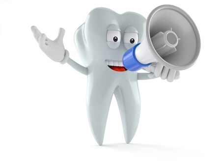 Tooth character speaking through a megaphone isolated on white background Stock Photo