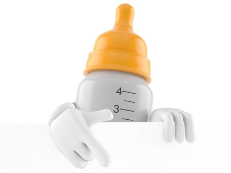 Baby bottle character isolated on white background