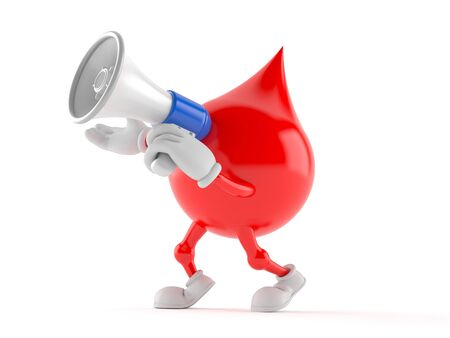 Blood drop character speaking through a megaphone isolated on white background