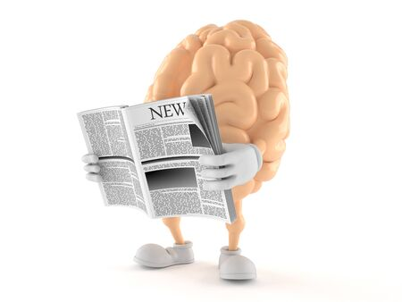 Brain character reading newspaper on white background Banque d'images