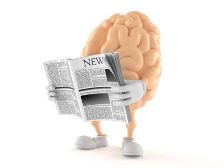 Brain character reading newspaper on white background Foto de archivo