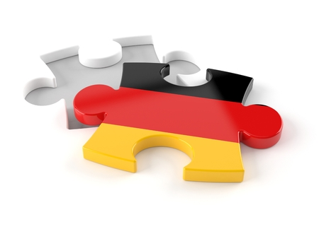 German jigsaw puzzle isolated on white background