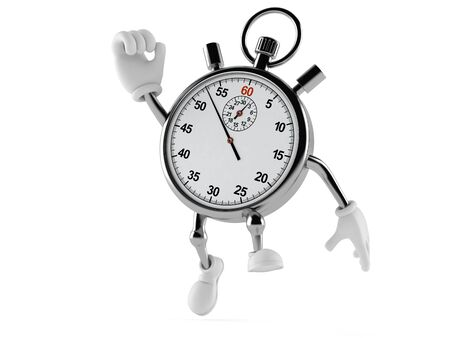 Stopwatch character jumping on white background
