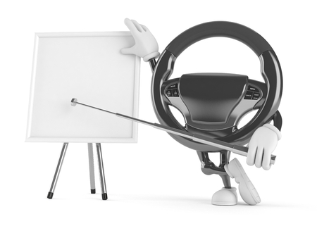 Car steering wheel character with whiteboard isolated on white background