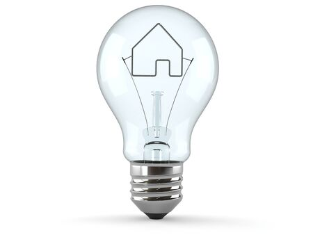 Light bulb with house icon isolated on white background Foto de archivo