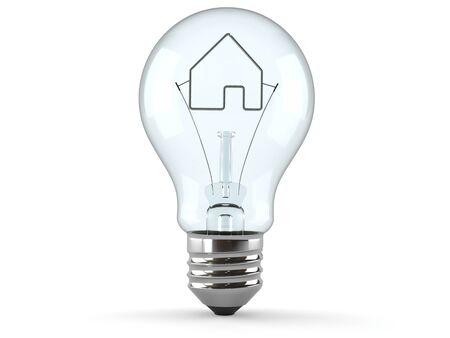 Glühbirne mit Haussymbol isoliert auf weißem Hintergrund Standard-Bild - 92262518