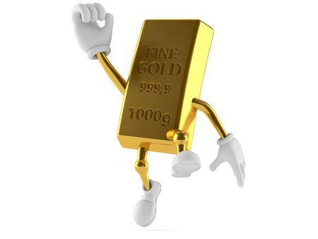 Gold character jumping on white background Stock Photo