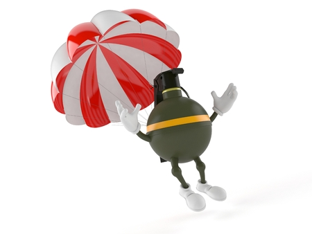 Hand grenade character with parachute isolated on white background