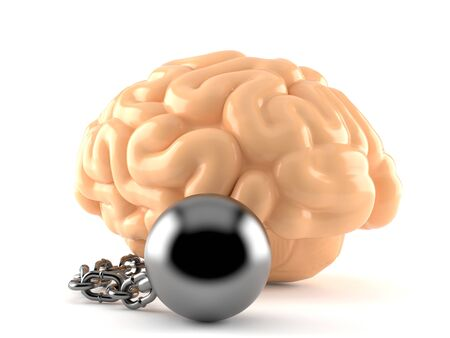 Brain with prison ball isolated on white background