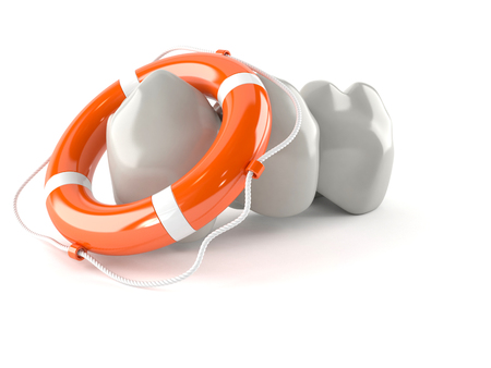 Dental implant with life buoy isolated on white background