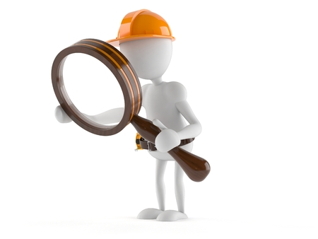 Manual worker with magnifying glass isolated on white background