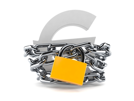Euro currency symbol with chain and padlock isolated on white background