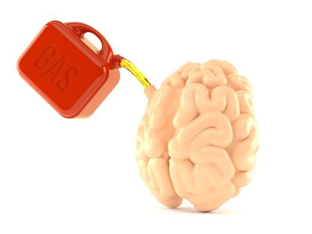 Brain with gasoline canister isolated on white background