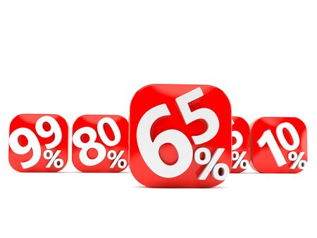 Numbers with percent symbols isolated on white background