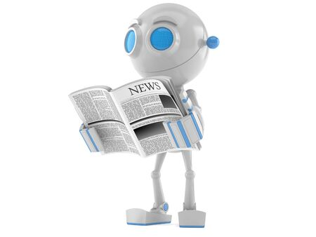 Robot reading newspaper isolated on white background